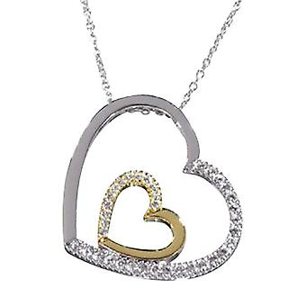 Annaleece Two-Tone Double Crystal Heart Pendant