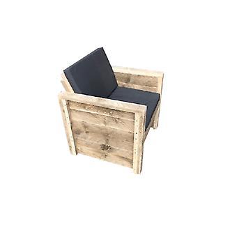 Wood4you - Tuinstoel Vlieland Steigerhout 65Lx57Hx72D cm - incl kussens