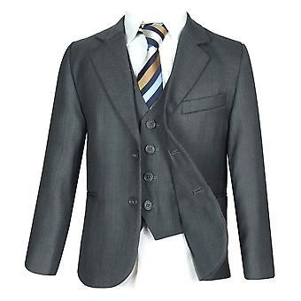 Boys 5 PC All in One Regular Fit Charcoal Grey Boys Suit