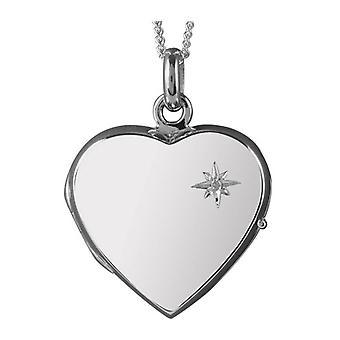 Orton oeste em forma de coração Locket - prata