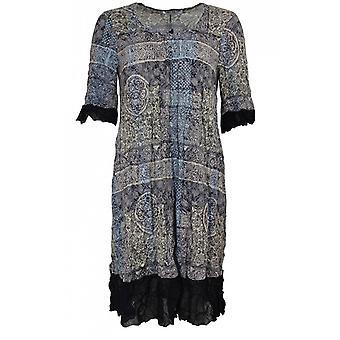 Lauren Vidal Crushed Effect Vintage Print Dress