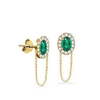 Earrings Princess Chain 18K Gold and Diamonds - Yellow Gold, Emerald