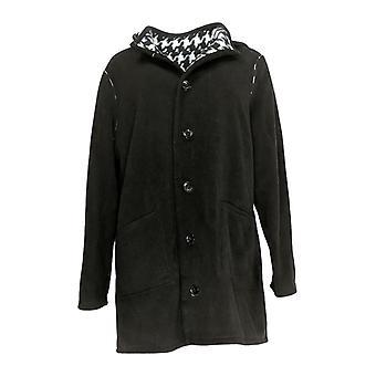 Susan Graver Women-apos;s Reversible Coat w/ Front Pockets Black A366176
