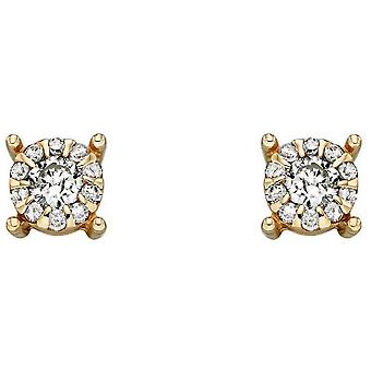 Elements Gold April Birthstone Stud Earrings - Clear/Gold