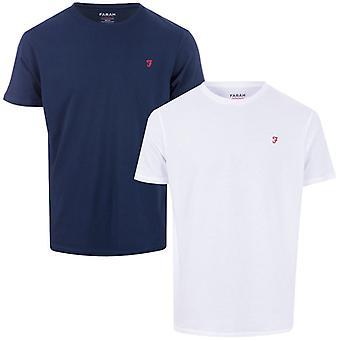 Men's Farah Donoch 2 Pack Lounge T-Shirts en Bleu