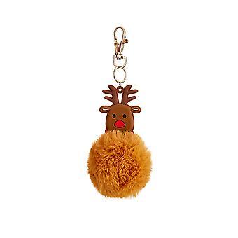 Rudolph Reindeer Pom Pom Keyring Cracker Filler Gift