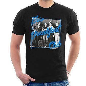 The Breakfast Club School Lockers Blue Text Overlay Men's T-Shirt