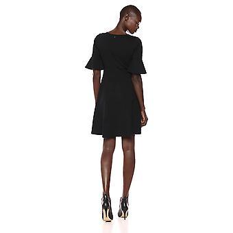 Lark & Ro Women's Ruffle Sleeve Fit and Flare Dress, Black, 10