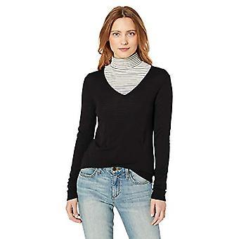 Lerche & Ro Frauen's Merino Wolle Langarm V Hals Pullover, schwarz, groß