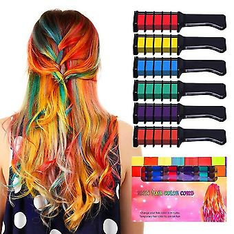 Temporary Hair Color Chalk Combs Kit - 6 Pcs Fashion Colorful Girls Party Cosplay Halloween Hair Salon Dyeing Combs