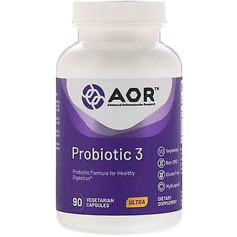 Advanced Orthomolecular Research AOR, Probiotique 3, 90 Capsules végétariennes