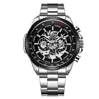 Kalendarz męski's automatyczny mechaniczny zegarek stalowy pas