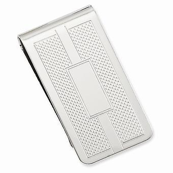 Rhodium plated Honey Comb and Square Engravable Money Clip Jewelry Gifts for Men