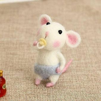 Dzieci Diy Gift Mouse Wool Needle Felt Toy - Diy Non Finished Felting Poked Kit