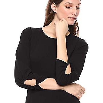 Lark & Ro Women's Gathered 3/4 Sleeve Crew Neck Fit وفستان مضيئة مع بوك ...
