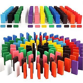 100/200/300/500 Pcs Wooden Rainbow Domino Building Blocks Toys For Children