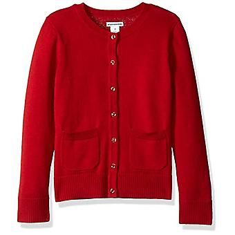 Essentials Little Girls' Uniform Cardigan Sweater, Scooter red, M