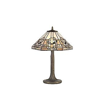 2 Light Tree Like Table Lamp E27 With 40cm Tiffany Shade, White, Grey, Black, Clear Crystal, Aged Antique Brass