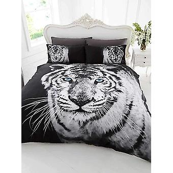 3D White Tiger King Size Dekbed Cover en pillowcase set
