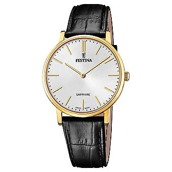 Festina swiss made watch for Analog Quartz Men with Cowhide Bracelet F20016/1