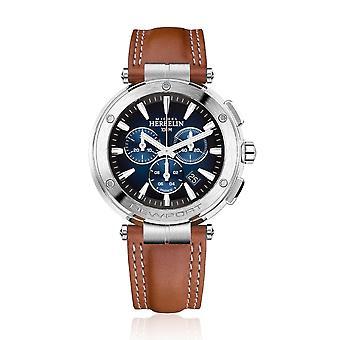 Michel Herbelin 37688-35GON Men's Newport Chronograph Brown Strap Wristwatch