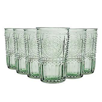 Bormioli Rocco Romantische Highball Bril Set - Vintage Italiaanse Cut Glass Cocktail Tumblers - 340ml - Groen - Pack van 6