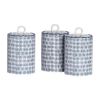 Nicola Spring 3pc Hand-Printed Tea Coffee Sugar Canister Set - Porcelana Kitchen Storage Canisters with Seal - Navy - 1L