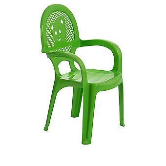 Resol Mini Kids Garden Chair - Plastic Outdoor Play Bedroom Children's Furniture - Green