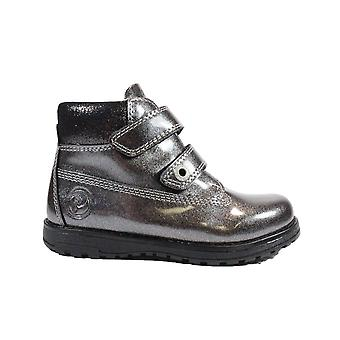 Primigi Aspy 6410100 Silver Glitter Patent Leather Girls Rip Tape Ankle Boots