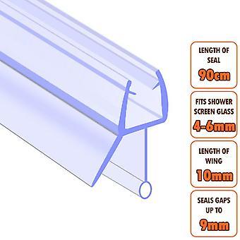 ECOSPA Bath Shower Screen Door Seal Strip - for 4-6mm Glass - Seals Gaps to 9mm