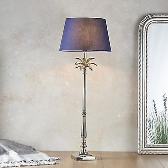 Table Lampe Polie Nickel Plate & Navy Cotton 1 Light IP20 - E27