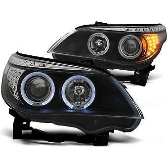 Koplampen dual halo rims BMW E60/E61 03-07 ANGEL EYES ZWART LED INDIC