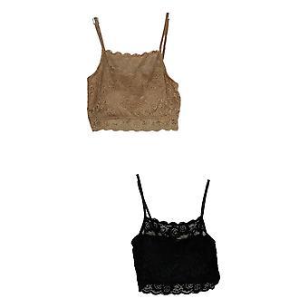 Rhonda Shear 2-pack Lace Camisole Bra Set Zwart 711-740