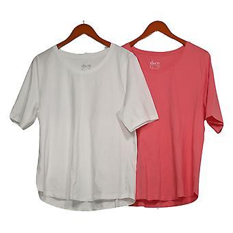 Denim & Co. Women's Top S Set of 2 Short Sleeve T-shirts White A378932