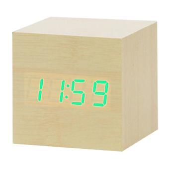 July's Song Puinen Digitaalinen LED-kello - Herätyskellon herätys torkku Kirkkauden säätö Ruskea