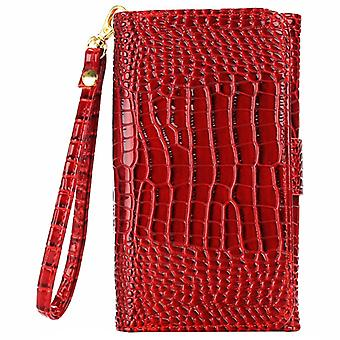 5.0 Inch Universal Crazy Crocodile Texture Carry Cases with Wallet & Fentes de carte & Lanyard pour iPhone 6 & 5 & 5S & 5C,Sony Xperia E4 & M4 Aqua (Rouge)