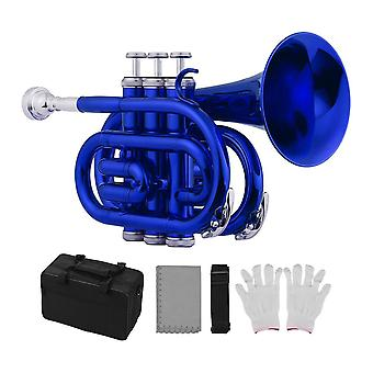 Mini Pocket Trumpet Bb Flat Brass Material Wind Instrument With Mouthpiece