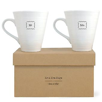 East of India Mr and Mrs Mugs - Wedding Gift / Present