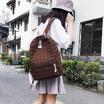 Canvas Women Backpack Plaid Pattern Teenager School Bags / Mochilas Female