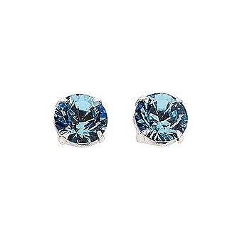 Sterling Silver Unisex Studs Earrings 2 Carat Swarovski Crystal - Aquamarine Blue