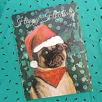 Christmas Pug Card Or Card Set