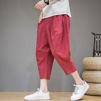 Summer Trousers, Men's Linen Cropped Pants- Large Size Loose Harem Pants
