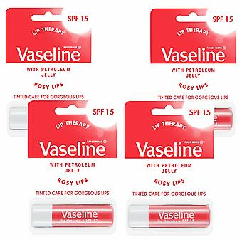 Vaseline Lip Therapy with SPF 15 Essential Moisture, Rosy Lipstick, 4Pk of 4gm
