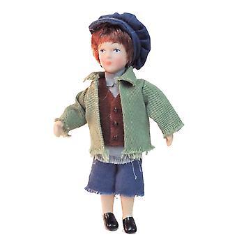 Dolls House Victorian Ourchin Boy Miniatura Porcelana Pessoas 1:12