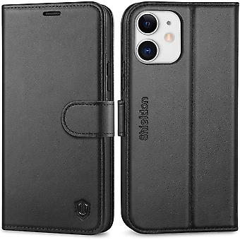 SHIELDON iPhone 12 Case, iPhone 12 Pro Genuine Leather Wallet Case with Shockproof TPU Shell, Black