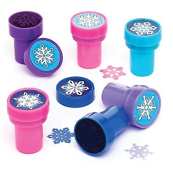 Baker ross ar771 self inking snowflake stamps for kids card crafts and homemade christmas activities