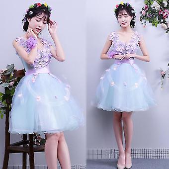 Elegant V-gât Ball Dress Sweet Floral Print Dress