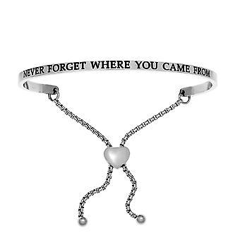 Intuitioner rostfritt stål aldrig glömma var du kom från Diamond Accent justerbar armband