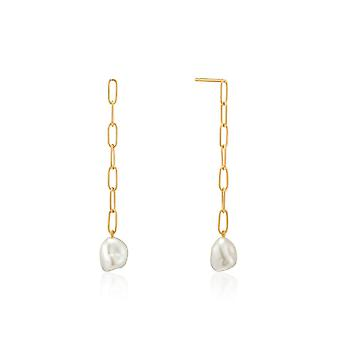 Ania Haie Shiny Gold Pearl Chunky Drop Earrings E019-05G