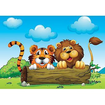 Mural de fondo de pantalla con un león y una T